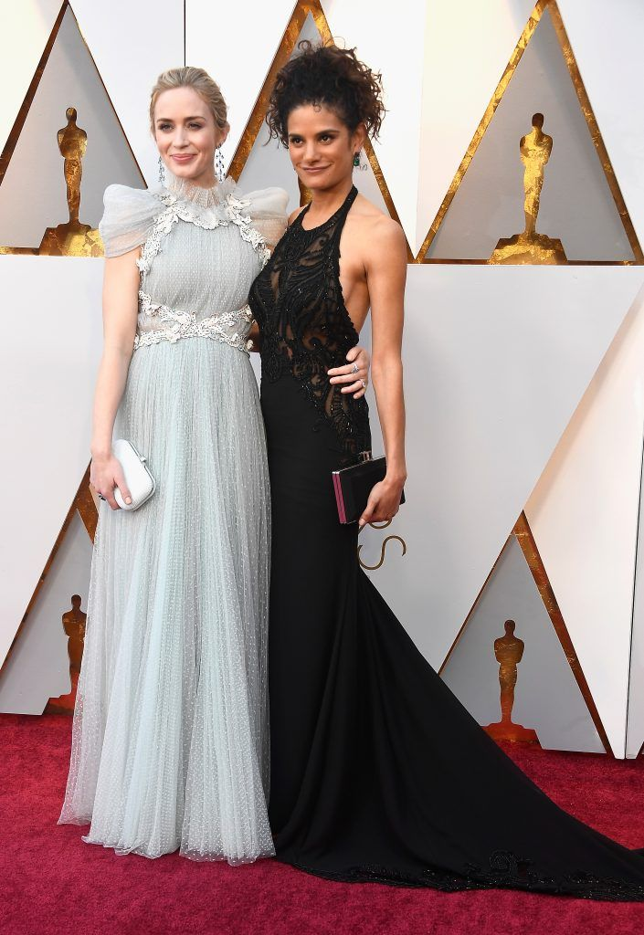 HOLLYWOOD, CA - MARCH 04: Emily Blunt (L) and guest attend the 90th Annual Academy Awards at Hollywood & Highland Center on March 4, 2018 in Hollywood, California.  (Photo by Frazer Harrison/Getty Images)