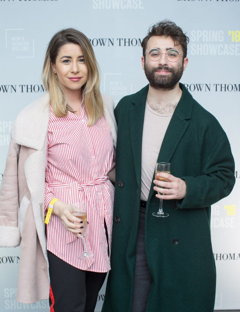 Stephanie Game & Conor Merriman at the Brown Thomas x MFI Magazine Spring 2018 showcase of the luxury store's exclusive new menswear collections on Friday 9th March. Photo: Anthony Woods