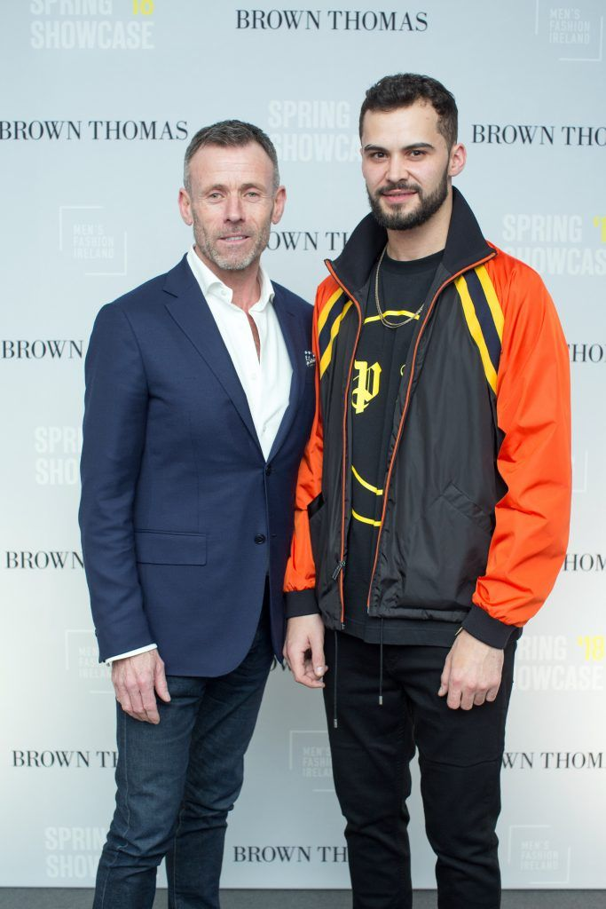 Paul O'Connor & Adam Gaffey at the Brown Thomas x MFI Magazine Spring 2018 showcase of the luxury store's exclusive new menswear collections on Friday 9th March. Photo: Anthony Woods
