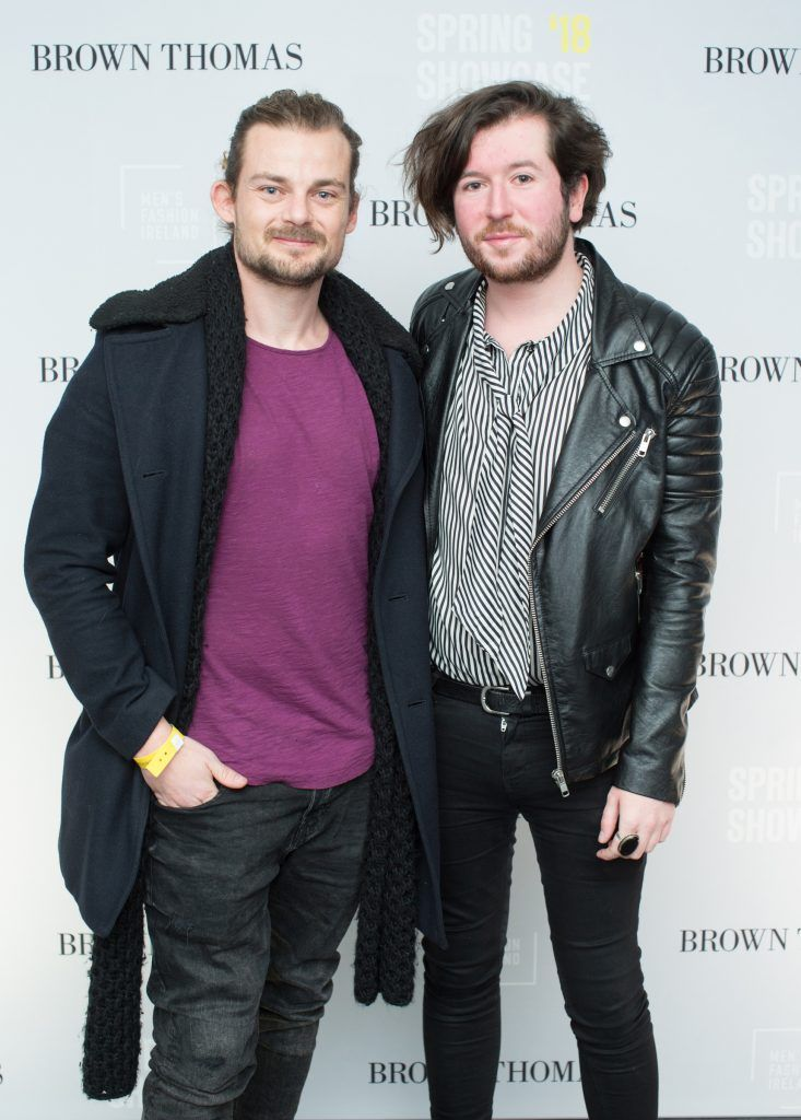 Alex Hutchinson & Alan Toye at the Brown Thomas x MFI Magazine Spring 2018 showcase of the luxury store's exclusive new menswear collections on Friday 9th March. Photo: Anthony Woods