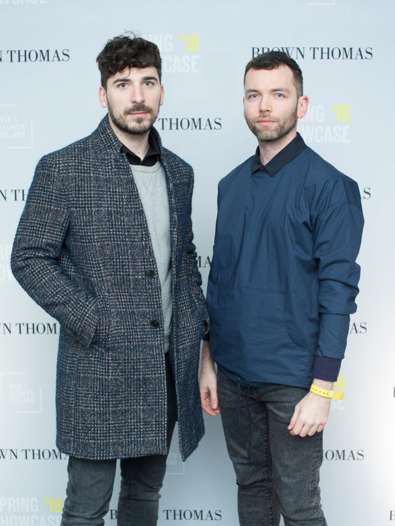 Kristijan Anrolovic & Andrija Solarevic at the Brown Thomas x MFI Magazine Spring 2018 showcase of the luxury store's exclusive new menswear collections on Friday 9th March. Photo: Anthony Woods