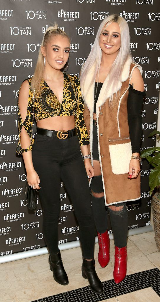 Diana Bais and Elle McDonough at the launch of BPerfect Cosmetics 10 Second Tan Mousse in Wilde Restaurant at The Westbury Hotel, Dublin. Photo: Brian McEvoy