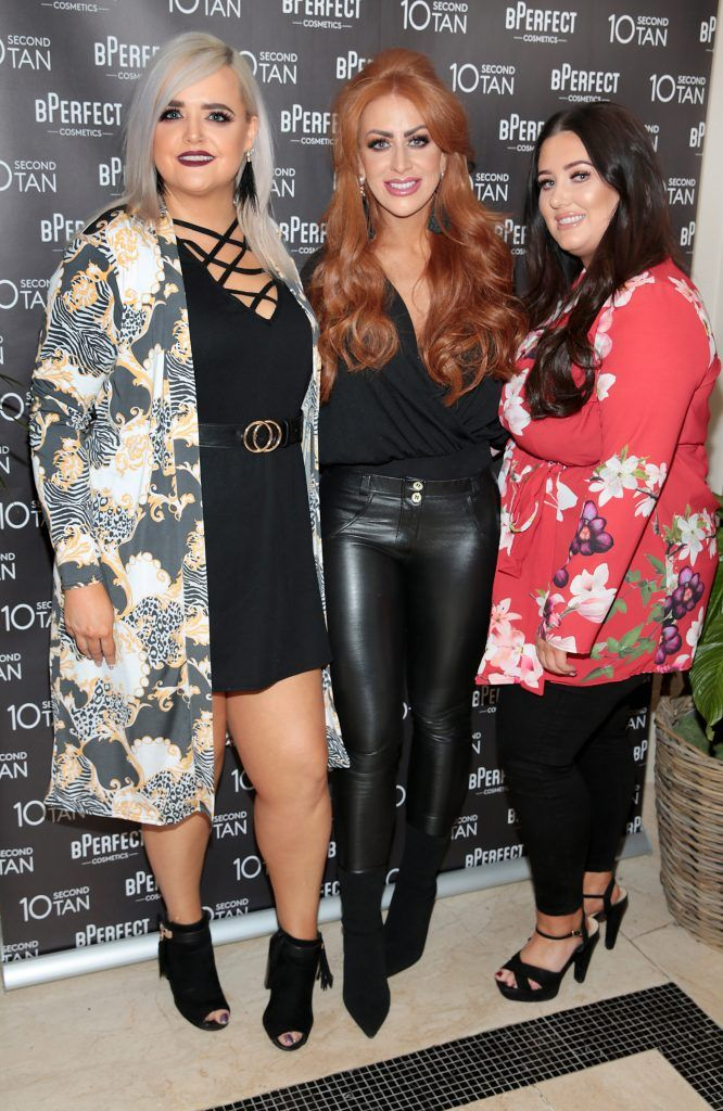 Julie Smith, Hollie Campbell and Louise McDonnell at the launch of BPerfect Cosmetics 10 Second Tan Mousse in Wilde Restaurant at The Westbury Hotel, Dublin. Photo: Brian McEvoy