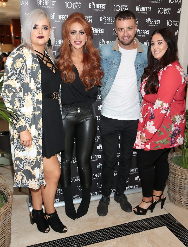 Julie Smith, Hollie Campbell, Brendan McDowell and Louise McDonnell at the launch of BPerfect Cosmetics 10 Second Tan Mousse in Wilde Restaurant at The Westbury Hotel, Dublin. Photo: Brian McEvoy