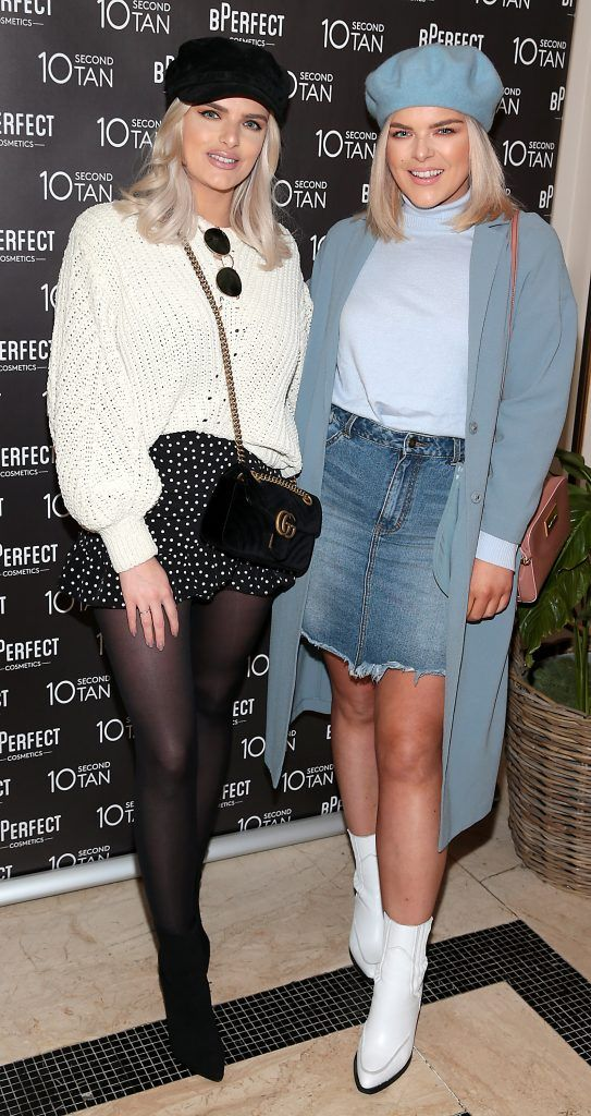 Ashley Kehoe and Emma Kehoe at the launch of BPerfect Cosmetics 10 Second Tan Mousse in Wilde Restaurant at The Westbury Hotel, Dublin. Photo: Brian McEvoy