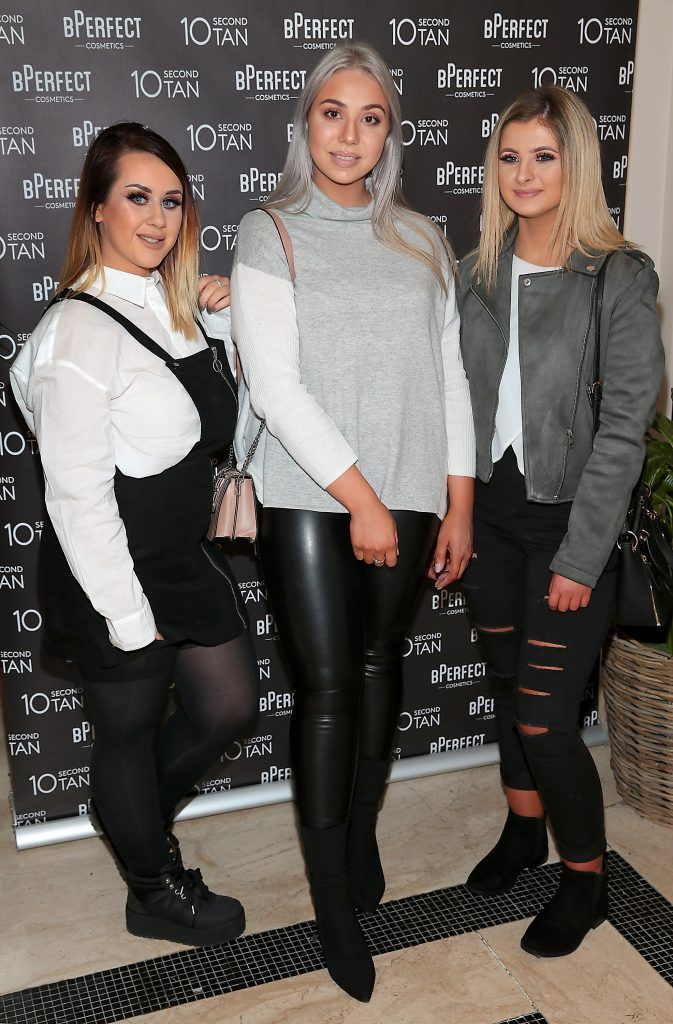 Rebecca Lawless, Emma Doyle and Karen Nugent at the launch of BPerfect Cosmetics 10 Second Tan Mousse in Wilde Restaurant at The Westbury Hotel, Dublin. Photo: Brian McEvoy