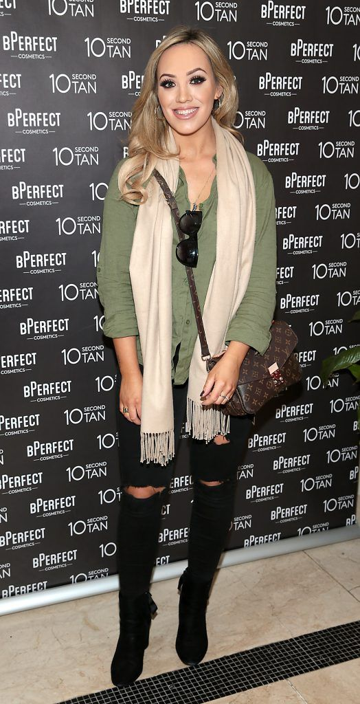 Aly McGinn at the launch of BPerfect Cosmetics 10 Second Tan Mousse in Wilde Restaurant at The Westbury Hotel, Dublin. Photo: Brian McEvoy