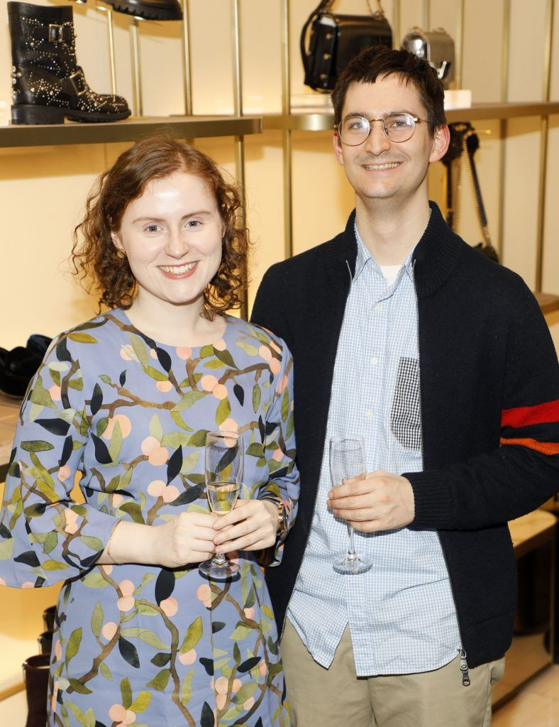 Meadhbh McGrath and Tom Godfrey at Brown Thomas' unveiling of the highly anticipated Off-White c/o Jimmy Choo collaboration in the Grafton Street store (8th March 2018). Photo: Kieran Harnett