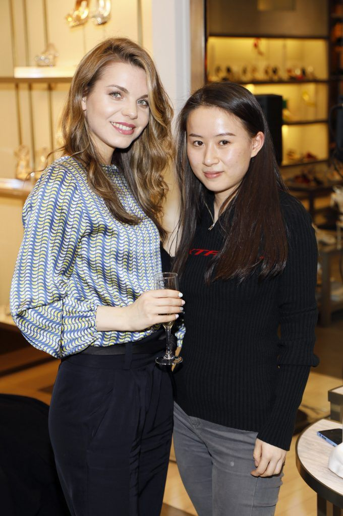 Natalie Gordo and Xuwei Xu at Brown Thomas' unveiling of the highly anticipated Off-White c/o Jimmy Choo collaboration in the Grafton Street store (8th March 2018). Photo: Kieran Harnett