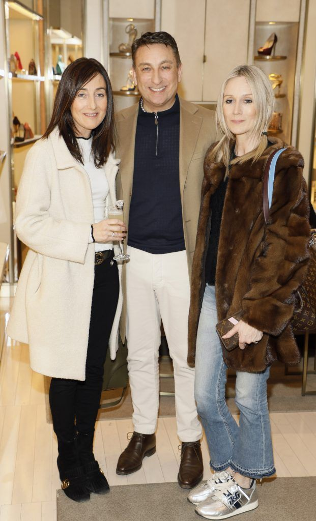 Caroline Greene with Dermott and Sharon Farrell at Brown Thomas' unveiling of the highly anticipated Off-White c/o Jimmy Choo collaboration in the Grafton Street store (8th March 2018). Photo: Kieran Harnett