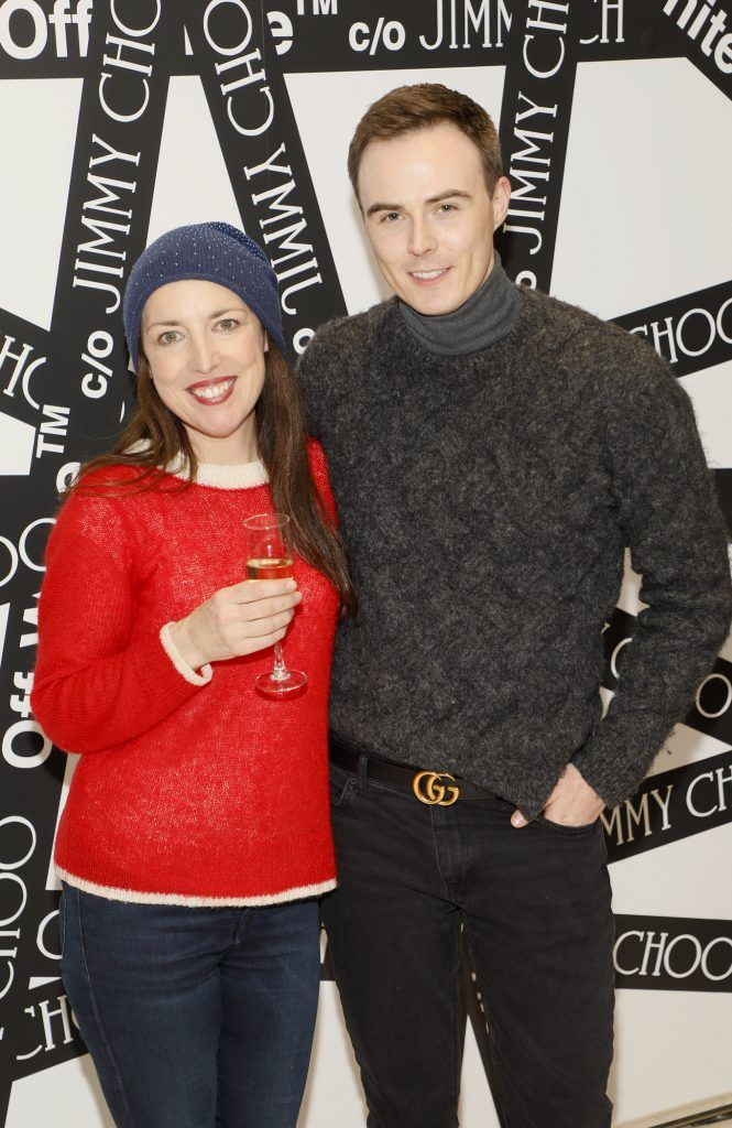 Deborah Maguire and Colin Fagan at Brown Thomas' unveiling of the highly anticipated Off-White c/o Jimmy Choo collaboration in the Grafton Street store (8th March 2018). Photo: Kieran Harnett