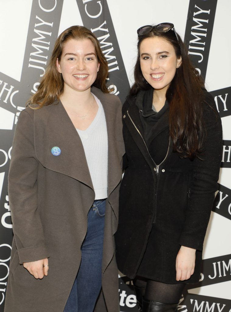 Niamh Mulville and Niamh Farrell at Brown Thomas' unveiling of the highly anticipated Off-White c/o Jimmy Choo collaboration in the Grafton Street store (8th March 2018). Photo: Kieran Harnett