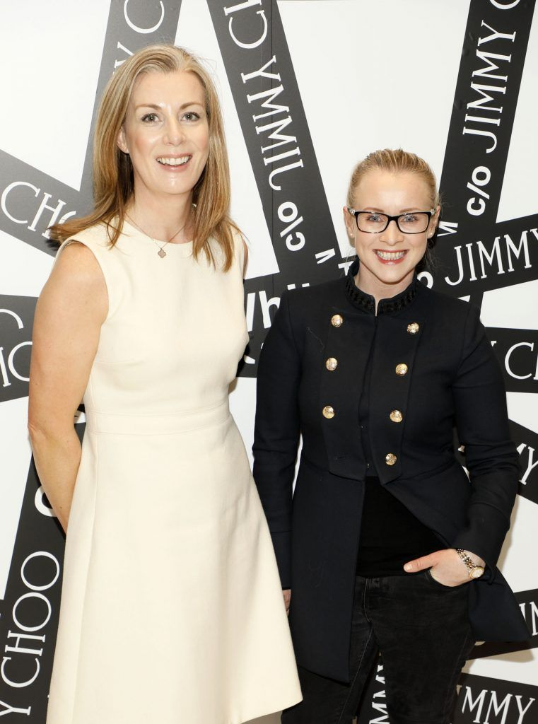 Orla Crown and Siobhan Gallagher at Brown Thomas' unveiling of the highly anticipated Off-White c/o Jimmy Choo collaboration in the Grafton Street store (8th March 2018). Photo: Kieran Harnett