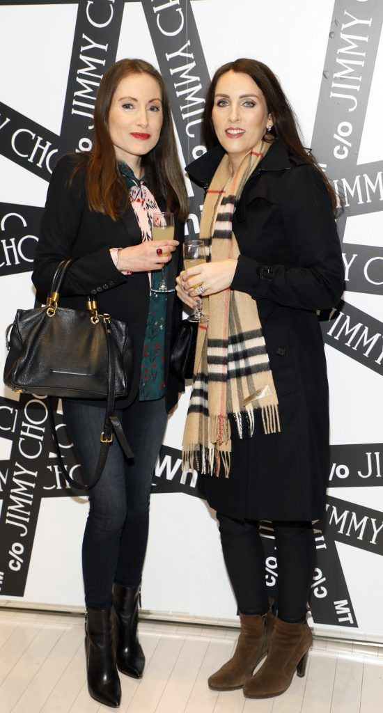 Paula McMeel and Noelle Smith at Brown Thomas' unveiling of the highly anticipated Off-White c/o Jimmy Choo collaboration in the Grafton Street store (8th March 2018). Photo: Kieran Harnett