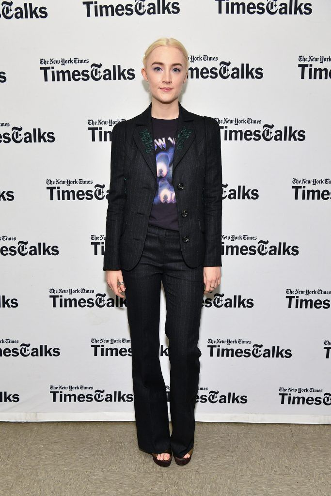Saoirse Ronan attends TimesTalks Presents Greta Gerwig and Saoirse Ronan at Merkin Concert Hall at Kaufman Music Center on January 4, 2018 in New York City.  (Photo by Dia Dipasupil/Getty Images)