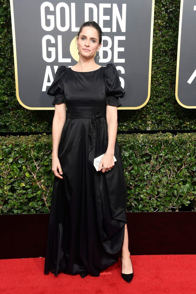 BEVERLY HILLS, CA - JANUARY 07:  Actor Amanda Peet attends The 75th Annual Golden Globe Awards at The Beverly Hilton Hotel on January 7, 2018 in Beverly Hills, California.  (Photo by Frazer Harrison/Getty Images)