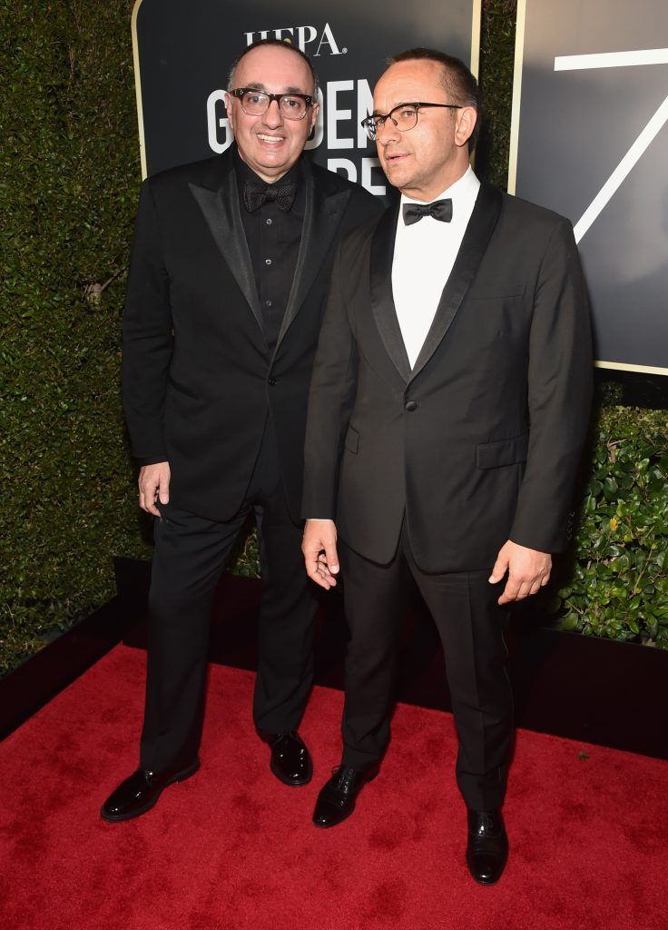 BEVERLY HILLS, CA - JANUARY 07:  Alexander Rodnyansky (L) and Andrey Zvyagintsev attend The 75th Annual Golden Globe Awards at The Beverly Hilton Hotel on January 7, 2018 in Beverly Hills, California.  (Photo by Alberto E. Rodriguez/Getty Images)