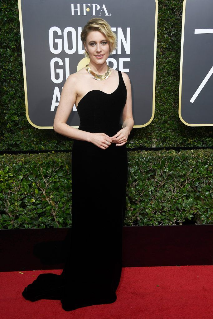 BEVERLY HILLS, CA - JANUARY 07:  Actor/director Greta Gerwig attends The 75th Annual Golden Globe Awards at The Beverly Hilton Hotel on January 7, 2018 in Beverly Hills, California.  (Photo by Frazer Harrison/Getty Images)