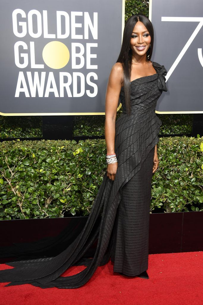 BEVERLY HILLS, CA - JANUARY 07:  Naomi Campbell attends The 75th Annual Golden Globe Awards at The Beverly Hilton Hotel on January 7, 2018 in Beverly Hills, California.  (Photo by Frazer Harrison/Getty Images)