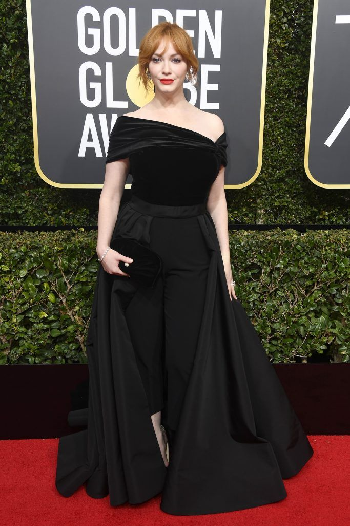 BEVERLY HILLS, CA - JANUARY 07:  Christina Hendricks attends The 75th Annual Golden Globe Awards at The Beverly Hilton Hotel on January 7, 2018 in Beverly Hills, California.  (Photo by Frazer Harrison/Getty Images)
