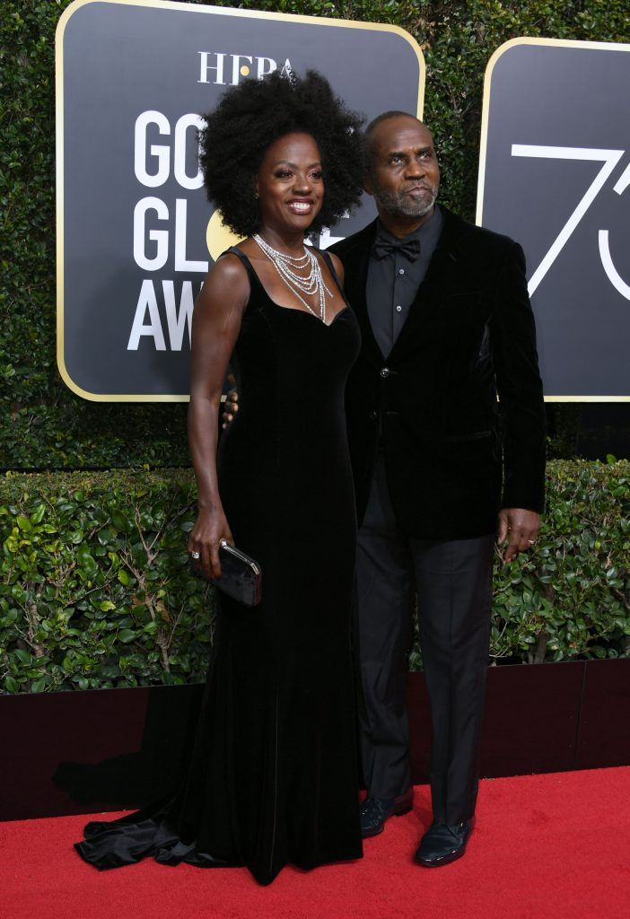 Viola Davis (L) and Julius Tennon arrive for the 75th Golden Globe Awards on January 7, 2018, in Beverly Hills, California. / AFP PHOTO / VALERIE MACON        (Photo credit should read VALERIE MACON/AFP/Getty Images)