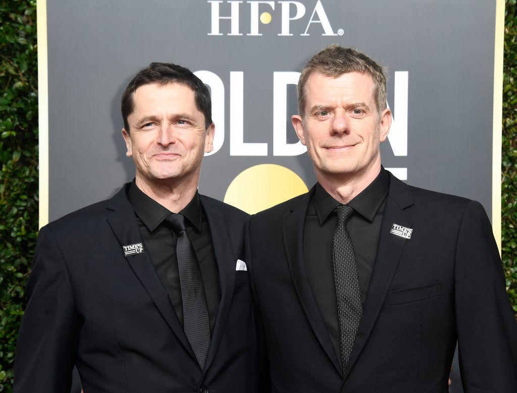 BEVERLY HILLS, CA - JANUARY 07:  Producers Peter Czernin (L) and Graham Broadbent attend The 75th Annual Golden Globe Awards at The Beverly Hilton Hotel on January 7, 2018 in Beverly Hills, California.  (Photo by Frazer Harrison/Getty Images)