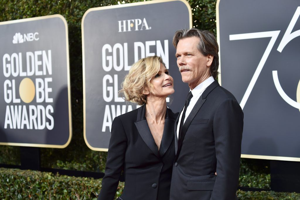 BEVERLY HILLS, CA - JANUARY 07:  Kyra Sedgwick and Kevin Bacon attend The 75th Annual Golden Globe Awards at The Beverly Hilton Hotel on January 7, 2018 in Beverly Hills, California.  (Photo by Frazer Harrison/Getty Images)