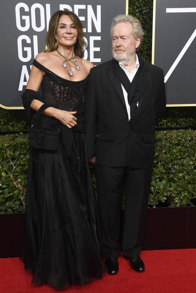 BEVERLY HILLS, CA - JANUARY 07:  Director Ridley Scott (R) and Giannina Facio attend The 75th Annual Golden Globe Awards at The Beverly Hilton Hotel on January 7, 2018 in Beverly Hills, California.  (Photo by Frazer Harrison/Getty Images)