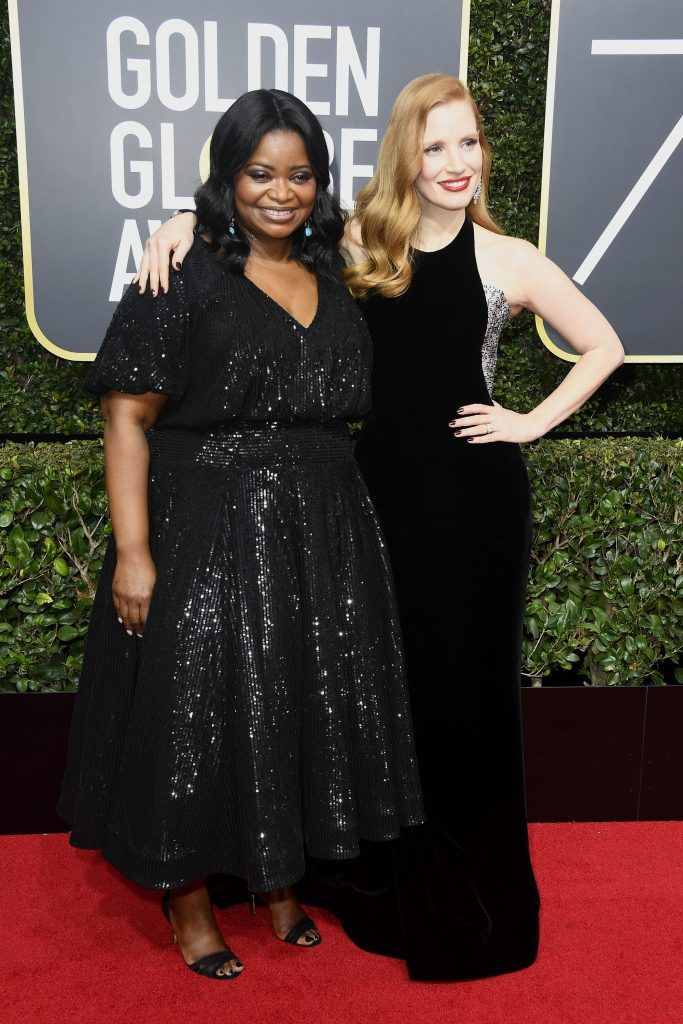 BEVERLY HILLS, CA - JANUARY 07:  Octavia Spencer and Jessica Chastain attend The 75th Annual Golden Globe Awards at The Beverly Hilton Hotel on January 7, 2018 in Beverly Hills, California.  (Photo by Frazer Harrison/Getty Images)