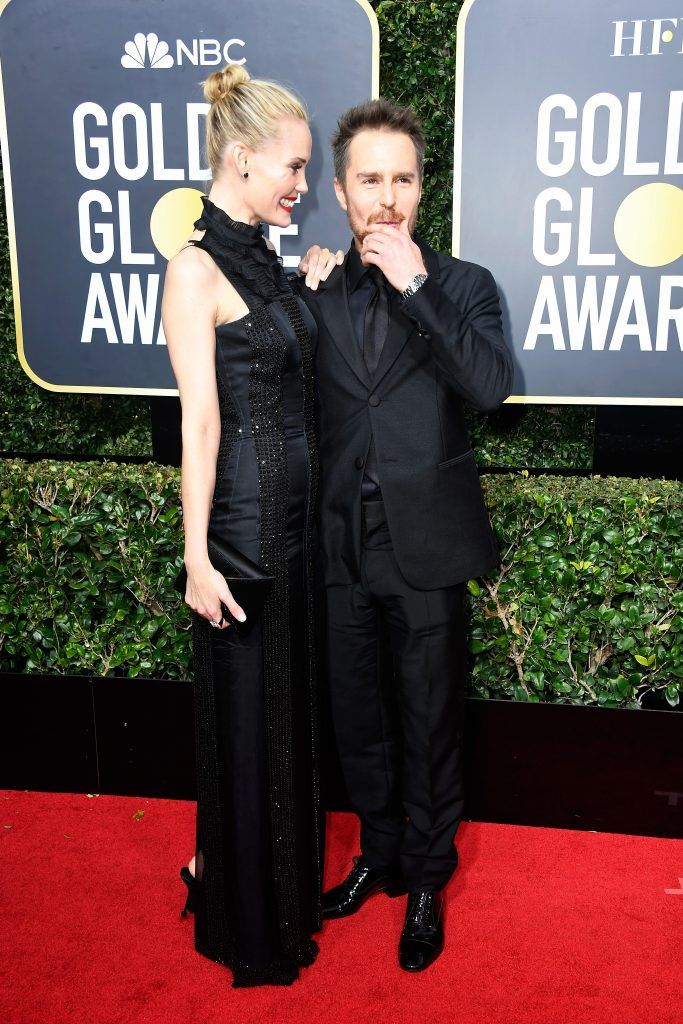 BEVERLY HILLS, CA - JANUARY 07:  Actors Leslie Bibb and Sam Rockwell attend The 75th Annual Golden Globe Awards at The Beverly Hilton Hotel on January 7, 2018 in Beverly Hills, California.  (Photo by Frazer Harrison/Getty Images)