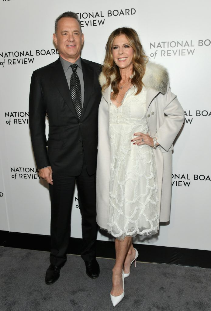 Actors Tom Hanks (L) and Rita Wilson attends the 2018 The National Board Of Review Annual Awards Gala at Cipriani 42nd Street on January 9, 2018 in New York City.  (Photo by Mike Coppola/Getty Images)
