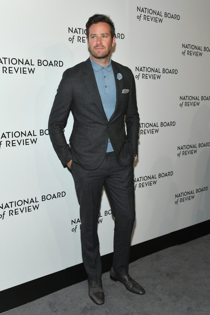 Armie Hammer attends the 2018 The National Board Of Review Annual Awards Gala at Cipriani 42nd Street on January 9, 2018 in New York City.  (Photo by Mike Coppola/Getty Images)