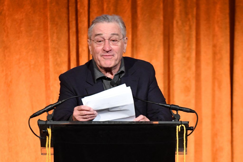 Robert De Niro speaks onstage during the National Board of Review Annual Awards Gala at Cipriani 42nd Street on January 9, 2018 in New York City.  (Photo by Dimitrios Kambouris/Getty Images for National Board of Review)