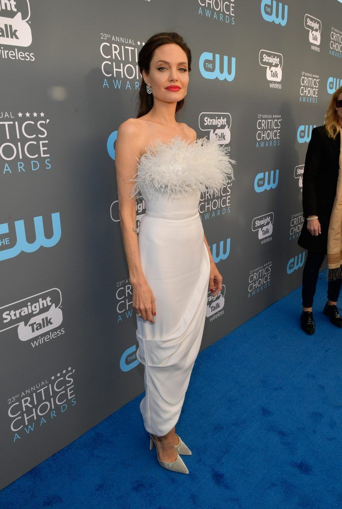 SANTA MONICA, CA - JANUARY 11:  Actor/director Angelina Jolie attends The 23rd Annual Critics' Choice Awards at Barker Hangar on January 11, 2018 in Santa Monica, California.  (Photo by Matt Winkelmeyer/Getty Images for The Critics' Choice Awards  )