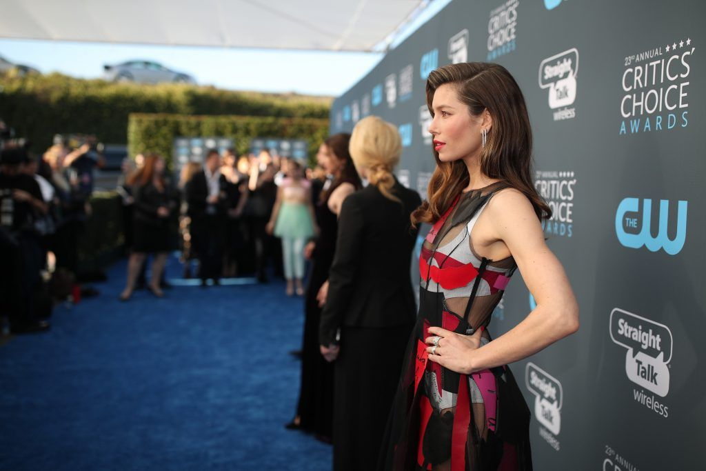 SANTA MONICA, CA - JANUARY 11:  Actor Jessica Biel attends The 23rd Annual Critics' Choice Awards at Barker Hangar on January 11, 2018 in Santa Monica, California.  (Photo by Christopher Polk/Getty Images for The Critics' Choice Awards  )