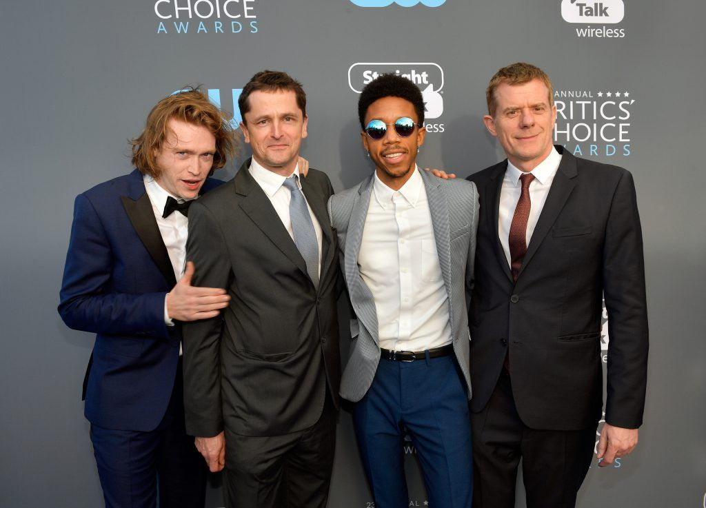 SANTA MONICA, CA - JANUARY 11:  (L-R) Actor Caleb Landry Jones, producer Peter Czernin, actor Darrell Britt-Gibson, and producer Graham Broadbent attend The 23rd Annual Critics' Choice Awards at Barker Hangar on January 11, 2018 in Santa Monica, California.  (Photo by Matt Winkelmeyer/Getty Images for The Critics' Choice Awards  )
