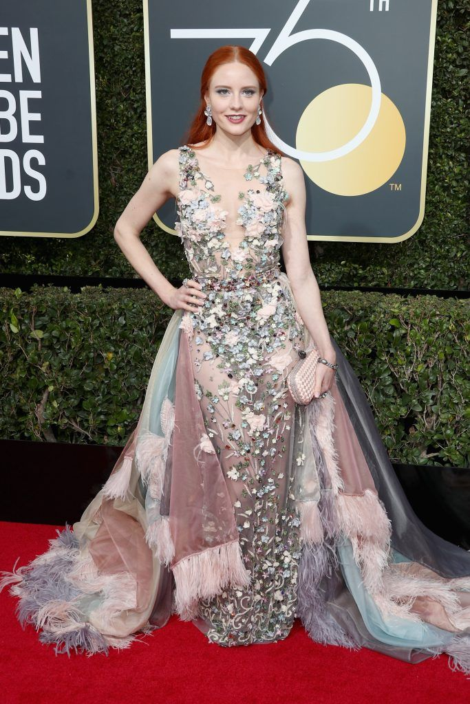 Barbara Meier attends The 75th Annual Golden Globe Awards at The Beverly Hilton Hotel on January 7, 2018 in Beverly Hills, California.  (Photo by Frederick M. Brown/Getty Images)