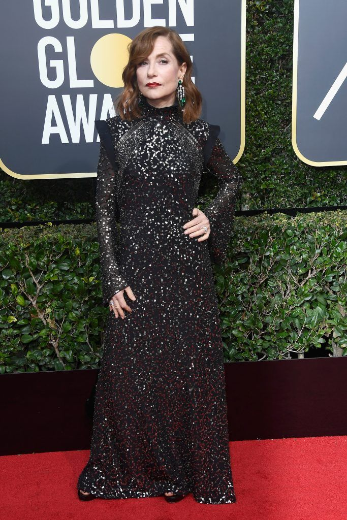 Isabelle Huppert attends The 75th Annual Golden Globe Awards at The Beverly Hilton Hotel on January 7, 2018 in Beverly Hills, California.  (Photo by Frazer Harrison/Getty Images)