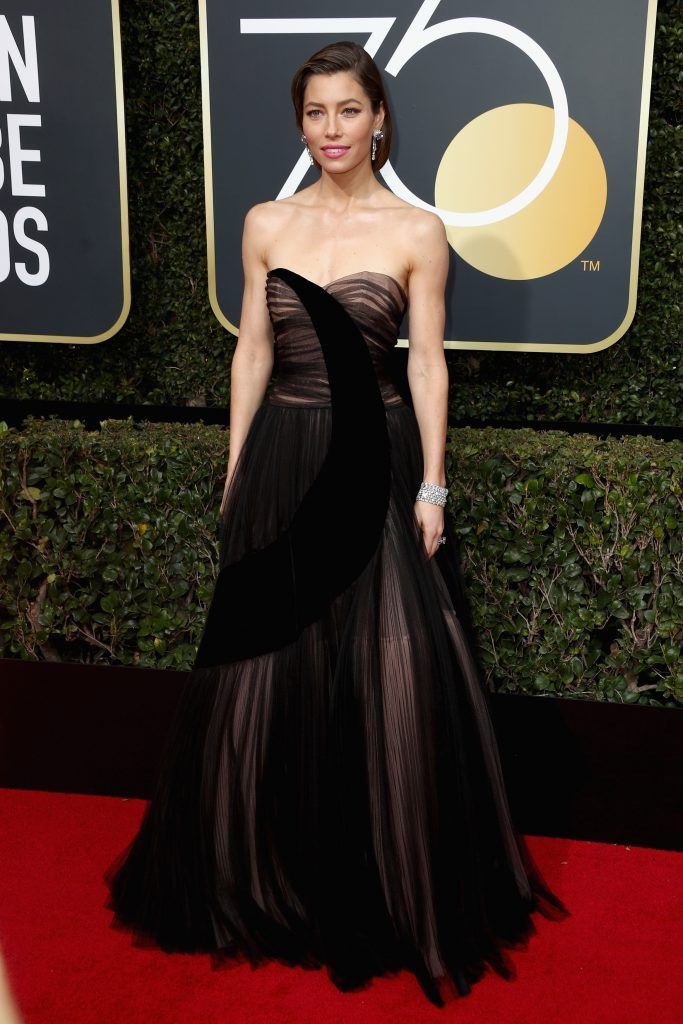 Jessica Biel attends The 75th Annual Golden Globe Awards at The Beverly Hilton Hotel on January 7, 2018 in Beverly Hills, California.  (Photo by Frederick M. Brown/Getty Images)
