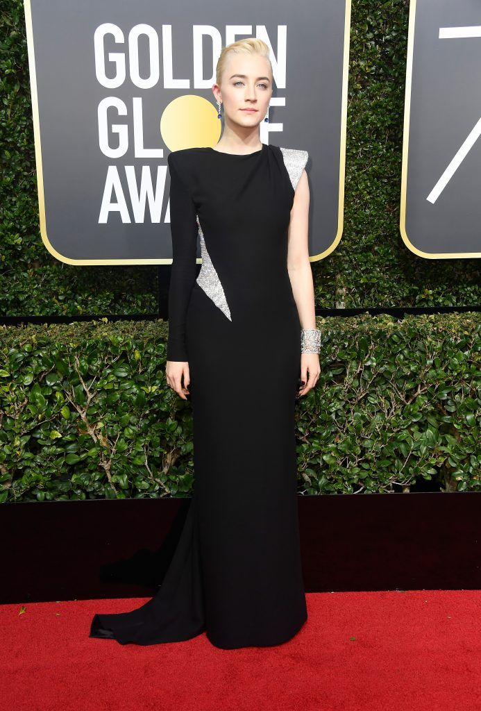 Saoirse Ronan attends The 75th Annual Golden Globe Awards at The Beverly Hilton Hotel on January 7, 2018 in Beverly Hills, California.  (Photo by Frazer Harrison/Getty Images)