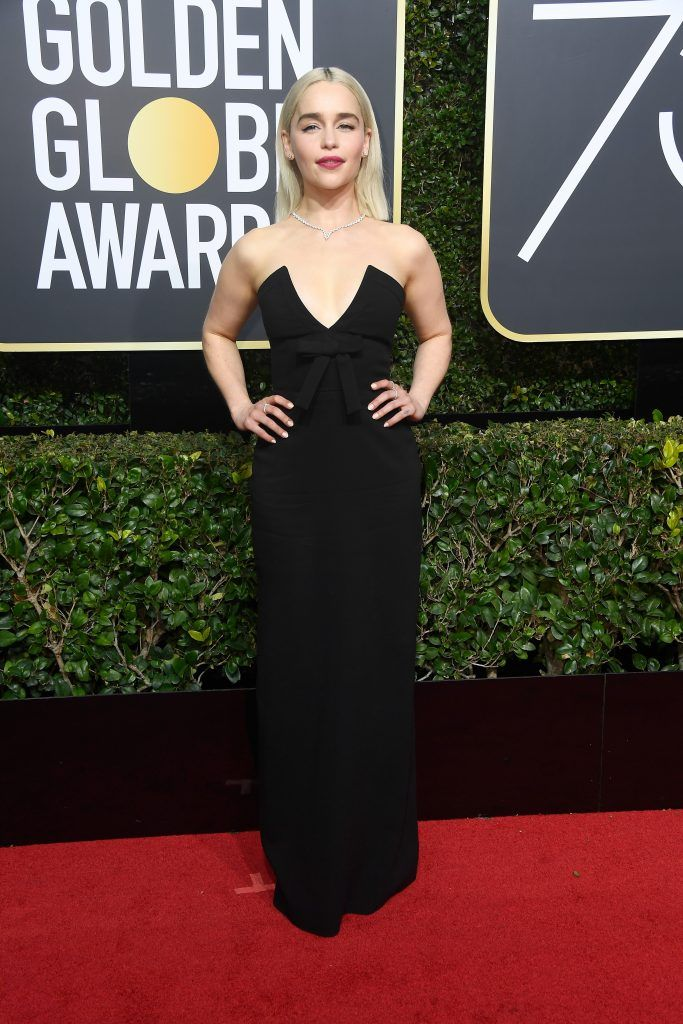 Emilia Clarke attends The 75th Annual Golden Globe Awards at The Beverly Hilton Hotel on January 7, 2018 in Beverly Hills, California.  (Photo by Frazer Harrison/Getty Images)