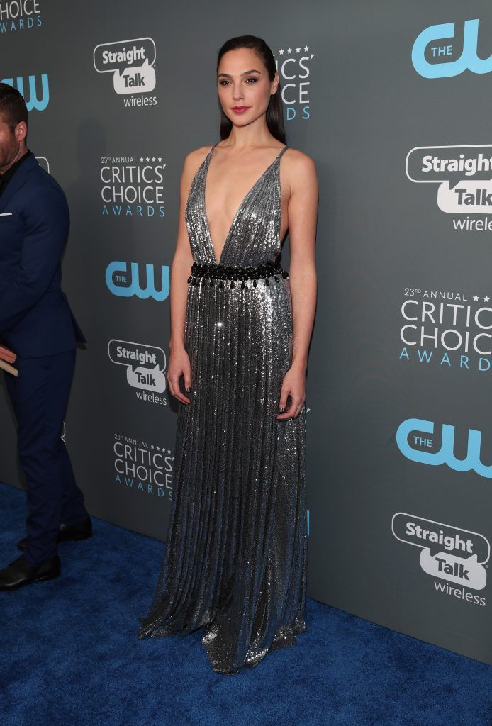 Gal Gadot attends The 23rd Annual Critics' Choice Awards at Barker Hangar on January 11, 2018 in Santa Monica, California.  (Photo by Christopher Polk/Getty Images for The Critics' Choice Awards  )