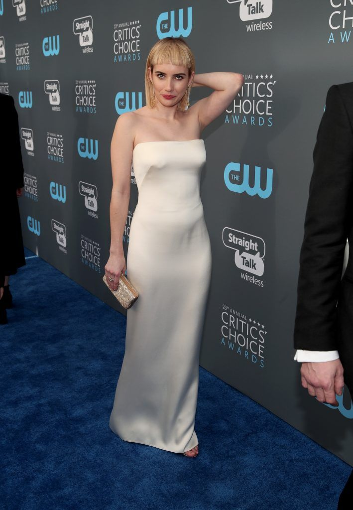 Emma Roberts attends The 23rd Annual Critics' Choice Awards at Barker Hangar on January 11, 2018 in Santa Monica, California.  (Photo by Christopher Polk/Getty Images for The Critics' Choice Awards  )