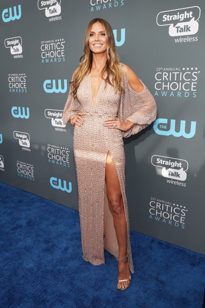 SANTA MONICA, CA - JANUARY 11:  TV personality Heidi Klum attends The 23rd Annual Critics' Choice Awards at Barker Hangar on January 11, 2018 in Santa Monica, California.  (Photo by Christopher Polk/Getty Images for The Critics' Choice Awards  )
