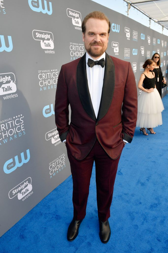 SANTA MONICA, CA - JANUARY 11:  Actor David Harbour attends The 23rd Annual Critics' Choice Awards at Barker Hangar on January 11, 2018 in Santa Monica, California.  (Photo by Matt Winkelmeyer/Getty Images for The Critics' Choice Awards  )