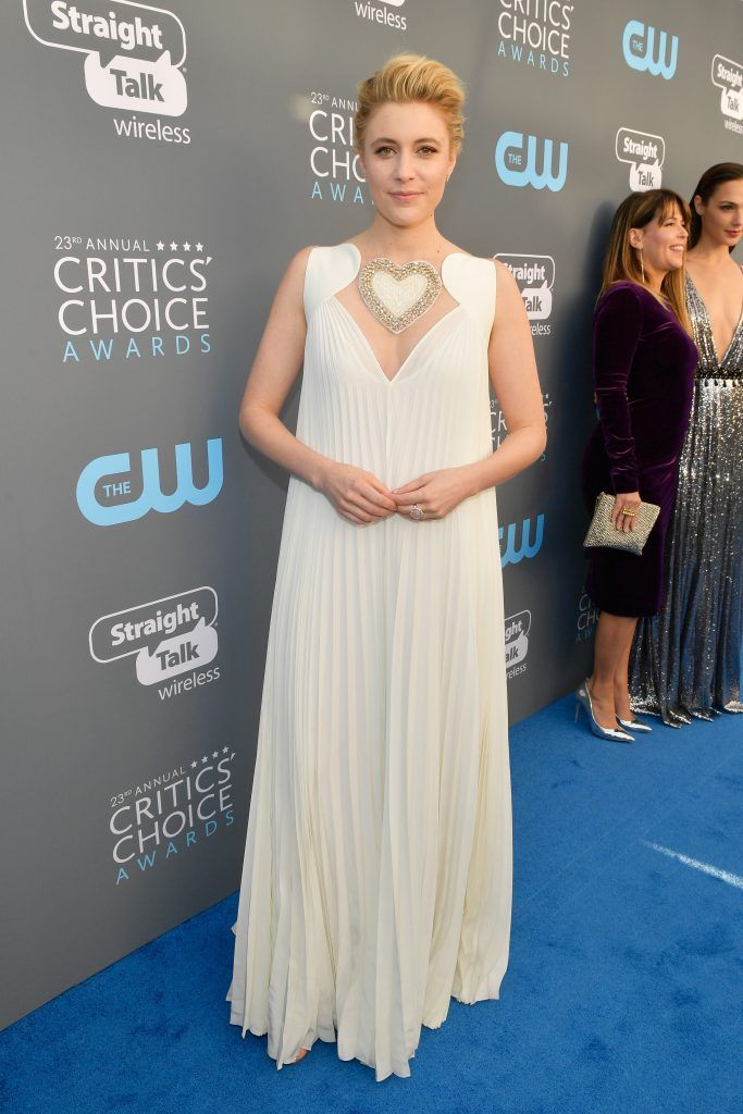 SANTA MONICA, CA - JANUARY 11:  Actor/writer/director Greta Gerwig attends The 23rd Annual Critics' Choice Awards at Barker Hangar on January 11, 2018 in Santa Monica, California.  (Photo by Matt Winkelmeyer/Getty Images for The Critics' Choice Awards  )