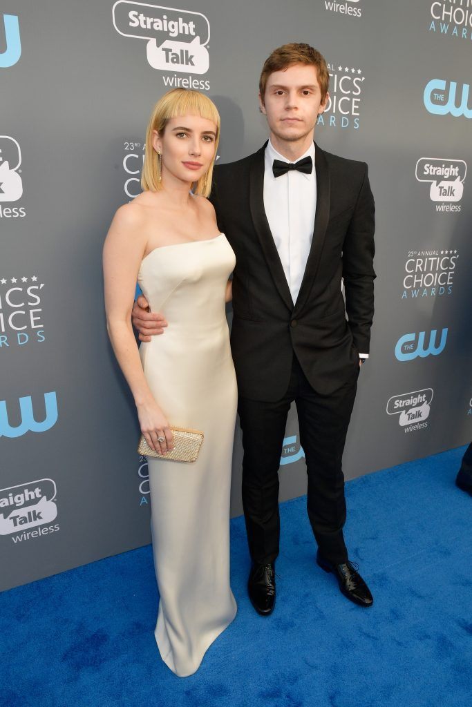 SANTA MONICA, CA - JANUARY 11:  Actors Emma Roberts and Evan Peters attend The 23rd Annual Critics' Choice Awards at Barker Hangar on January 11, 2018 in Santa Monica, California.  (Photo by Matt Winkelmeyer/Getty Images for The Critics' Choice Awards  )
