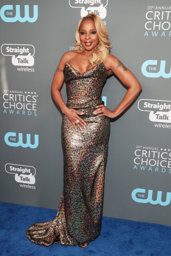 SANTA MONICA, CA - JANUARY 11:  Actor Mary J. Blige attends The 23rd Annual Critics' Choice Awards at Barker Hangar on January 11, 2018 in Santa Monica, California.  (Photo by Christopher Polk/Getty Images for The Critics' Choice Awards  )
