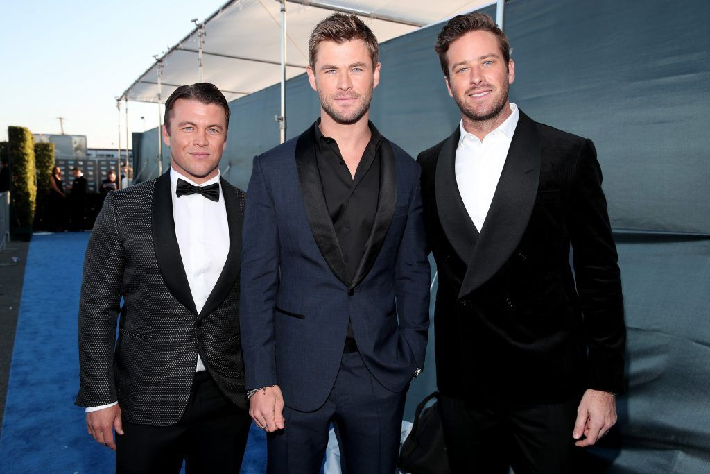 SANTA MONICA, CA - JANUARY 11:  (L-R) Luke Hemsworth, Chris Hemsworth, and Armie Hammer attend The 23rd Annual Critics' Choice Awards at Barker Hangar on January 11, 2018 in Santa Monica, California.  (Photo by Christopher Polk/Getty Images for The Critics' Choice Awards  )