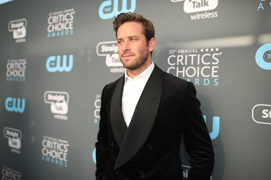 SANTA MONICA, CA - JANUARY 11:  Actor Armie Hammer attends The 23rd Annual Critics' Choice Awards at Barker Hangar on January 11, 2018 in Santa Monica, California.  (Photo by Christopher Polk/Getty Images for The Critics' Choice Awards  )